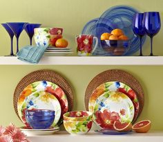 Enjoy fresh flowers on the table with Amelia and Cobalt Alabaster Dinnerware from Pier 1