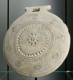 """Frying pan"" with spirals decoration. Terracotta with stamped and cut decoration, Early Cycladic I–II (ca. 2700 BC). From Syros"