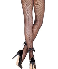 Look what I found on #zulily! Black Back-Seam Bow Fishnet Pantyhose - Women by Music Legs #zulilyfinds