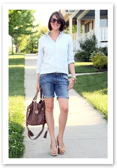 White Blouse With Denim Cutoffs
