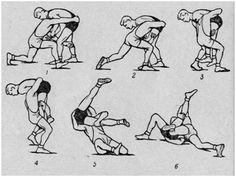Атакующий с наклоном захватывает левой рукой одноименную ногу противника за бедро изнутри, располагая голову у нижней части его туловища. Правой рукой он обхватывает туловище атакуемого сзади за его нижнюю часть. Бросок скручиванием с прогибом захватом одноименной ноги изнутри и туловища Шагая левой ногой и ставя ее с внутренней стороны захваченной ноги, нападающий приседает и плотно...
