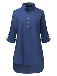 O-NEWE O-NEWE Casual Women Solid Lapel Long Sleeve High Low Shirt can cover your body well, make you more sexy, Newchic offer cheap plus size fashion tops for women Mobile. Kurti Neck Designs, Kurta Designs Women, Kurti Designs Party Wear, Blouse Designs, Pakistani Dresses Casual, Pakistani Dress Design, Hijab Casual, Long Shirt Outfits, Kurti With Jeans