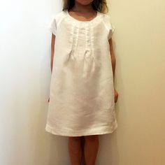 61037c2c0f 120% lino Girls Linen Dress White Designer Kids Clothes