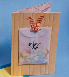 By Caitlin Berens Confetti Birthday Card for Him:   A see-through pouch filled with confetti will excite anyone turning a year older. Use a marker to jot down a simple message, then attach to card with a ribbon.