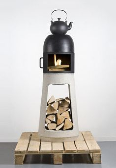 A sculptural stove, designed by Yanes Wühl for his graduation project. The smoke exits the rear of the stove, allowing the top to be flat.