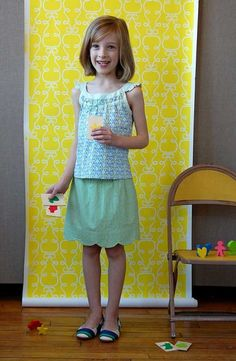 @Christine Taylor!! The pinner says: new Oliver+S pattern coming soon! the top and skort (yes, a skort!) are perfect for the girls. here's looking forward to springtime sewing!!!!