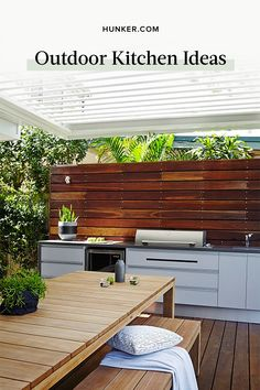 Whichever route you decide to take, here are a handful of inspired outdoor kitchen ideas. Before you know it, you'll be hosting al fresco dinner parties and indulging in healthy farm-to-table meals at sunset. #hunkerhome #outdoor #kitchen #kitchenarea  #outdoorkitchen