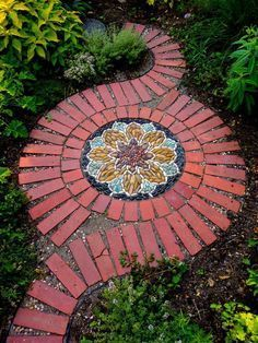 Brick Pathway with Pebble Mosaic for a Beautiful Look. #GardenDesignTips