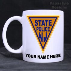 New Jersey State Police Patch Personalized 11oz Coffee Mugs Made in the USA. #Handmade