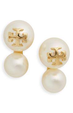Tory Burch Faux Pearl Logo Stud Earrings