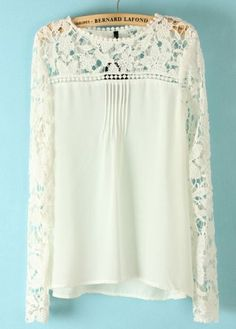 White Long Sleeve Hollow Contrast Lace Chiffon Blouse.  At Sheinside
