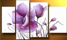 New 4pc Modern Abstract Huge Wall Art Oil Painting on Canvas Flowers No Frame | eBay