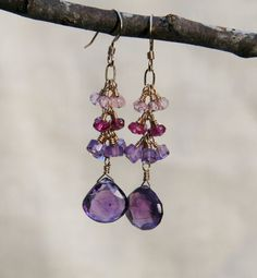 Iona Earrings: dangly amethyst pink by jewelrybybellagrace on Etsy