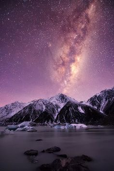 Mountain Of Stars. Lake Tasman Mount Cook, South Island, New Zealand | nature | | reflections |  #nature  https://biopop.com/