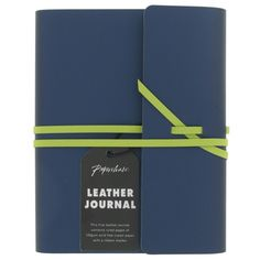 Blue A6 recycled leather notebook
