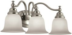 Chase 3-Light Brushed Nickel Bathroom Kitchen Bedroom Vanity Wall Light Fixture #Portfolio #Traditional