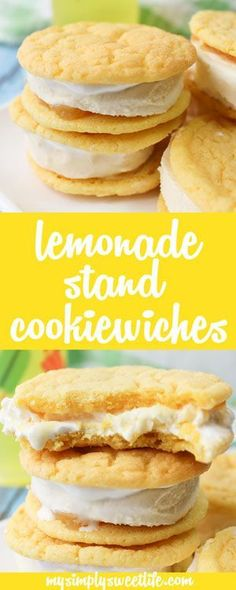 Sweet and chewy lemon cookies filled with vanilla bean ice cream, lemon curd, and marshmallow fluff. A summertime cookie reminiscent of backyard pool parties and neighborhood lemonade stands. #lemonade #lemoncookies #summer #summercookies #summerdessert #cookiesandwich #icecreamsandwich