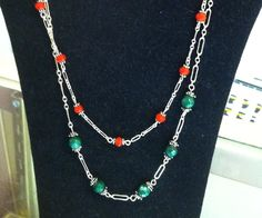 With the holidays coming up, sterling silver necklace with semi precious stones, in a choice of colors.