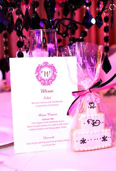 Pink & White Wedding Stationery & Wedding Favor Cookie