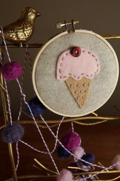 pink scoop embroidery hoop art.