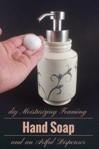 Foaming hand soap recipe and artful handmade dispenser.