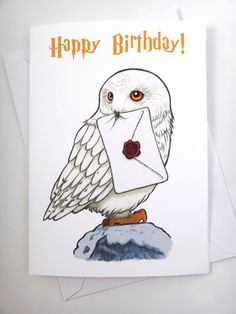 Harry Potter Card Hedwig Card Birthday Card Funny Card Greeting Card Harry Po Best Picture For DIY Birthday Cards with photos For Your Taste You are looking for something, and it is going to tell you Hedwig Harry Potter, Harry Potter Kunst, Harry Potter Sketch, Estilo Harry Potter, Harry Potter Bricolage, Harry Potter Cards, Cumpleaños Harry Potter, Harry Potter Drawings, Harry Potter Tumblr
