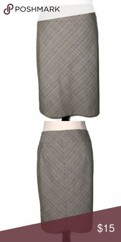 """The Limited Brown/Green/White Plaid Skirt Waist: 17.5"""" across Hips: 22"""" across Length: 22"""" 6.5"""" Slit at Center of Back Hem Body: 64% Polyester   34% Rayon   2% Spandex Lining: 100% Polyester  Dry Clean The Limited Skirts Pencil"""