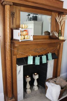 Living Room Fall Mantel -1901 Victorian home. Added tiger pumpkins, DIY fall sign, elements of coziness. 2 Bees in a Pod