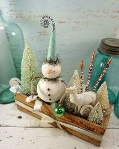 Items similar to Christmas Decoration // Folk Art Snowman // Vintage Style Christmas // Bottle Brush Tree // Mercury Glass // Vintage Reindeer on Etsy, a global handmade and vintage marketplace. Christmas Snowman, Winter Christmas, Christmas Ornaments, Christmas Projects, Holiday Crafts, Christmas Ideas, Christmas Sweets, Snowman Decorations, Christmas Decorations