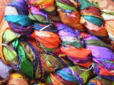 At the Bahamas Ribbon Recycled Sari Yarn by by ChristinasYarns, $13.25
