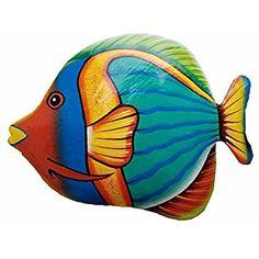 All Seas Imports Hand-chiseled and Painted Tropical Metal Art Wall Decor Fish Fish Wall Art, Fish Art, Colorful Fish, Tropical Fish, Tropical Decor, Painting On Wood, Stone Painting, Clay Fish, Cartoon Fish
