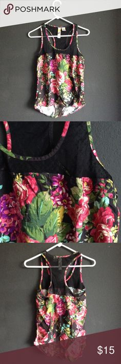 Floral print racer back with mesh Gently used floral print racer back with mesh Tops Tank Tops