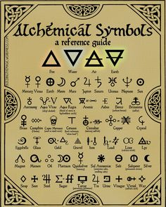 Print this FREE high-quality chart of Alchemy symbols–make your next RPG more mystical! Nothing conjures up mental images of lost secrets quite like alchemy. Alchemy, the fore-runner to modern chemistry, was full of… Alchemy Symbols, Magic Symbols, Symbols And Meanings, Witch Symbols, Witchcraft Symbols, Alchemy Art, Element Symbols, Alchemy Elements, Alchemy Tattoo
