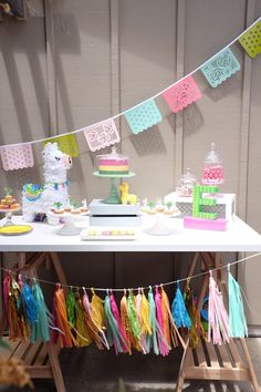 Llama Themed Dessert Table from a Llama & Cactus Birthday Party Birthday Table Decorations, Birthday Party Desserts, Birthday Party Tables, Llama Birthday, Baby Birthday, 6 Month Baby Picture Ideas Boy, Pink Lemonade Party, Party Themes, Party Ideas