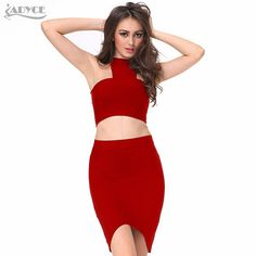 2016 New 2 two piece Set Bandage Dress Women Red Black Nude Turtleneck off-shoulder royal Celebrity Evening Party Dress Vestidos  Price : US $34.88 / piece