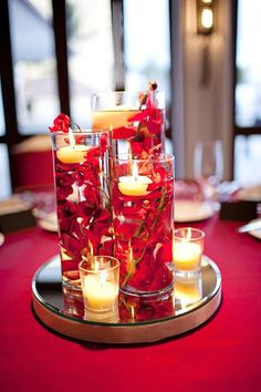table arrangements DIY red wedding submerged floral centerpieces