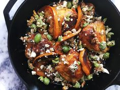 Crispy Chicken Thighs with Grapefruit, Olives, and Feta | This ultra-hearty chicken dish is the perfect balance of warm earthy flavors and tangy, salty toppings. If you prefer, you can subsitute any citrus of your choosing in place of the grapefruit. If you can't get your hands on Castelvetrano olives, you can substitute for a different olive, but we highly recommend giving this buttery, beautifully green variety a try if possible. This dish is best eaten immediately, as that crispy skin…