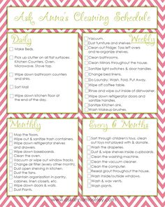14 Clever Deep Cleaning Tips & Tricks Every Clean Freak Needs To Know Cleaning Schedule Printable, Cleaning Checklist, Cleaning Hacks, Cleaning Schedules, Weekly Cleaning, Cleaning Routines, Cleaning Calendar, Cleaning Recipes, Cleaning Supplies