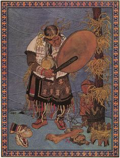"""This illustrates the use of larch shavings for the shaman crown among the Ulchi. Grandfather Misha wore the arm bands on his upper arms. He also used a larch shaving """"broom"""" (gimsacha) to remover intrusive energy from a patient.  Illustration by Gennady Pavlishin of a shaman from the book, Folktales of the Amur: Stories from the Russian Far East  by Dmitrii Nagishkin"""