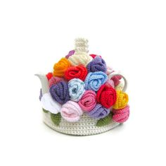 Crocheted tea cozy crochet rose flower cosy teapot by jarg0n, £35.00