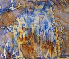 """gelatin plate print on rusted fabric aprox 7"""" x 7"""" Well I was trying to salvage some gelatin that I made around December 10th."""