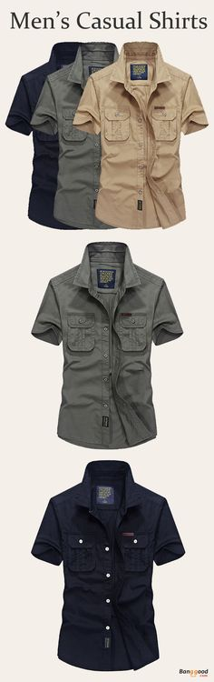 US$36.99+Free shipping. Men's Shirts, Casual Shirts, Outdoor Shirts. Material: 100% Cotton. Color: Dark Blue, Army Green, Khaki. Occasion: Casual, Outdoor