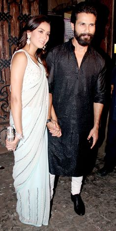 Shahid Kapoor and Mira Rajput at Anil Kapoor's #Diwali bash. #Bollywood #Fashion #Style #Beauty #Desi #Handsome #Saree