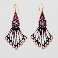 Delica Beaded Earrings, Beadwork, Seed Bead Earrings, Beadwoven Jewellery