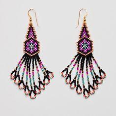 Delica Beaded Earrings, Beadwork, Seed Bead Earrings, Beadwoven Jewellery