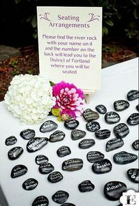 instead of a guest book you could write your name on a stone or use these for place settings. i love this idea!