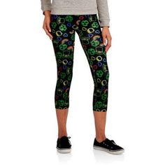 No Boundaries Juniors St. Patrick's Day Print Seamless Capri Leggings, Size: XL, Multicolor