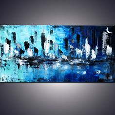 """""""City of Dreams"""" - 48"""" Large Abstract Blue Cityscape Painting, Art Painting Large blue cityscape modern abstract painting sofa knife art , Pintura por Art by Ada 