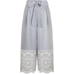 ZIMMERMANN Meridian Stripe Pant (€310) ❤ liked on Polyvore featuring pants, calça, trousers, high waisted striped pants, zip pants, blue crop pants, high-waisted pants and summer pants