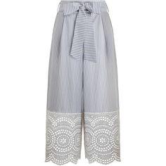 ZIMMERMANN Meridian Stripe Pant (1.410 RON) ❤ liked on Polyvore featuring pants, calça, swim pants, blue high waisted pants, zipper pants, summer pants and swimming pants